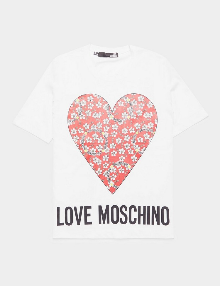 Love Moschino Flower Heart Short Sleeve T-Shirt