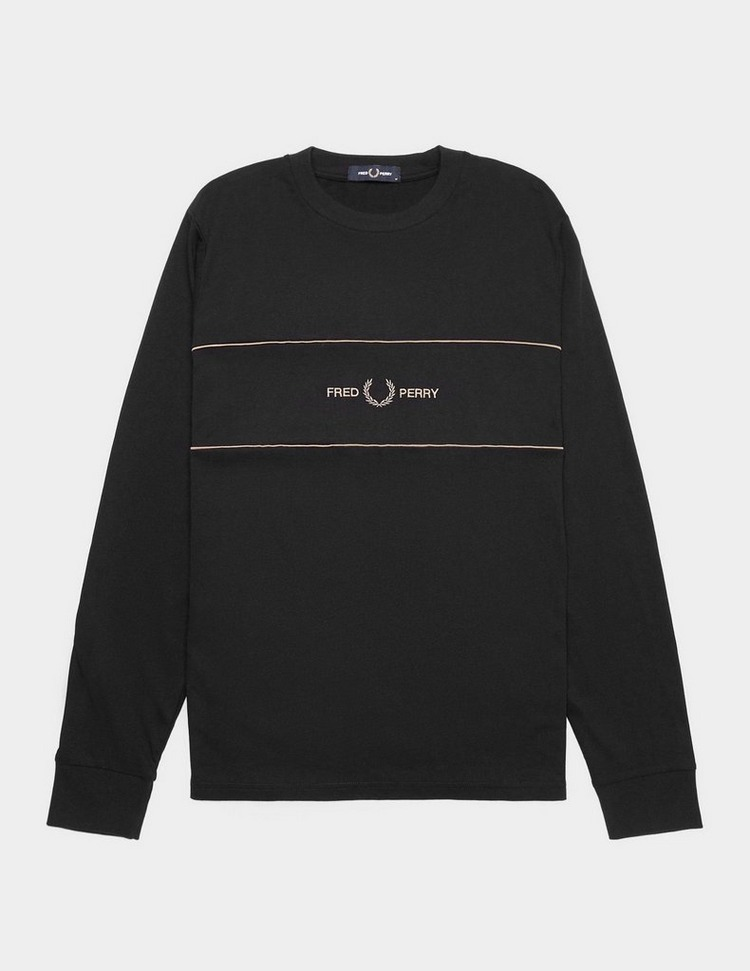 Fred Perry Embroidered Panel Long Sleeve T-Shirt