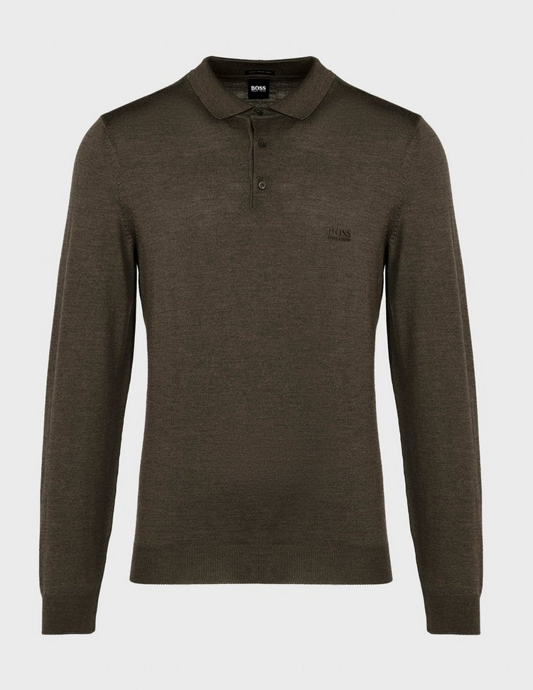 BOSS Bono Long Sleeve Knitted Polo Shirt