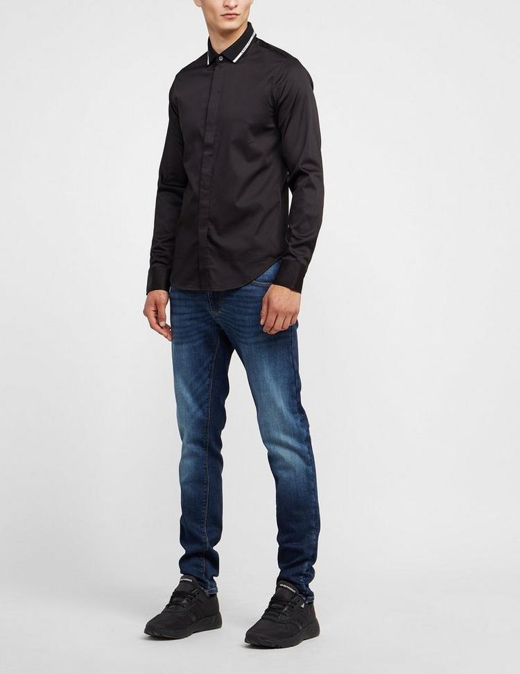 Emporio Armani Logo Collar Long Sleeve Shirt
