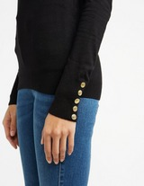 Holland Cooper Button Roll Neck Knitted Jumper