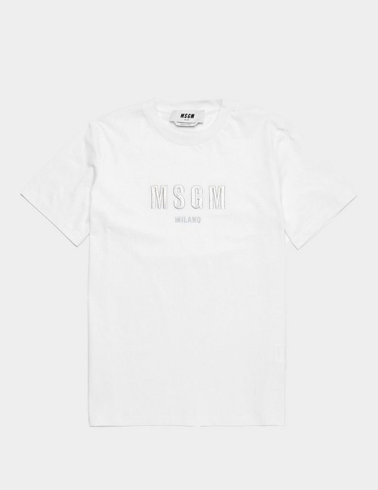 MSGM Embroidered Silver Logo Short Sleeve T-Shirt