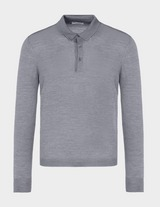 Gran Sasso Button Knitted Long Sleeve Polo Shirt
