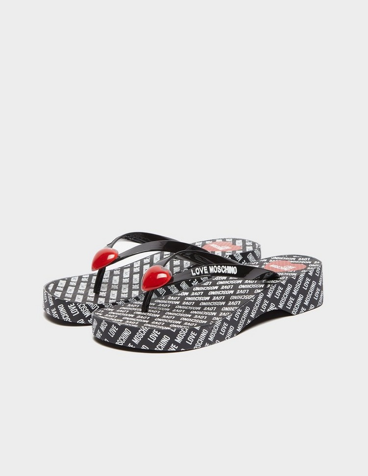 Love Moschino All Over Print Wedge Sandals