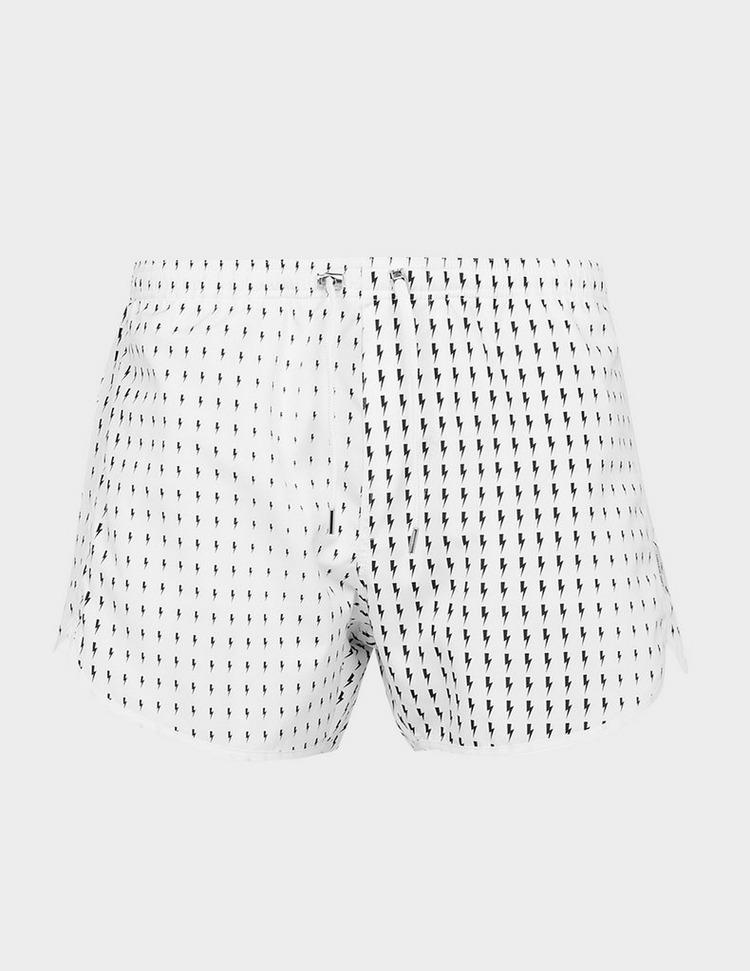 Neil Barrett Small All Over Print Bolt Swim Shorts