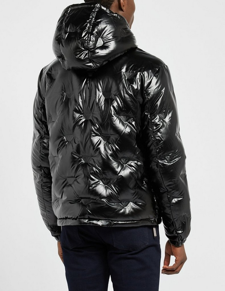 Emporio Armani All Over Eagle Quilted Hooded Jacket
