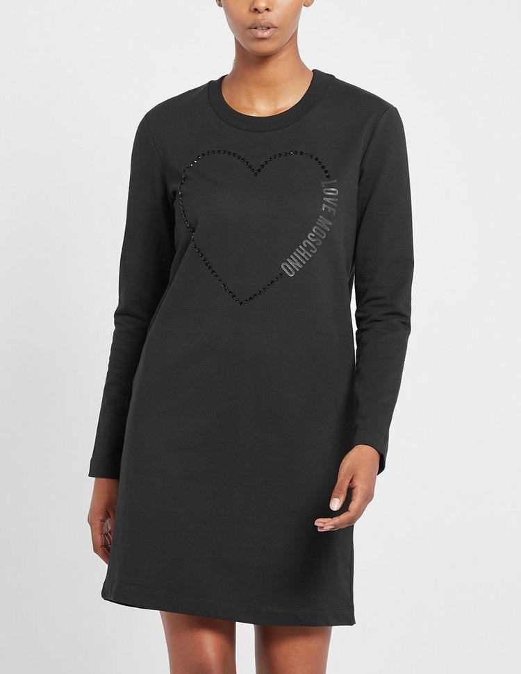 Love Moschino Crystal Heart Sweater Dress