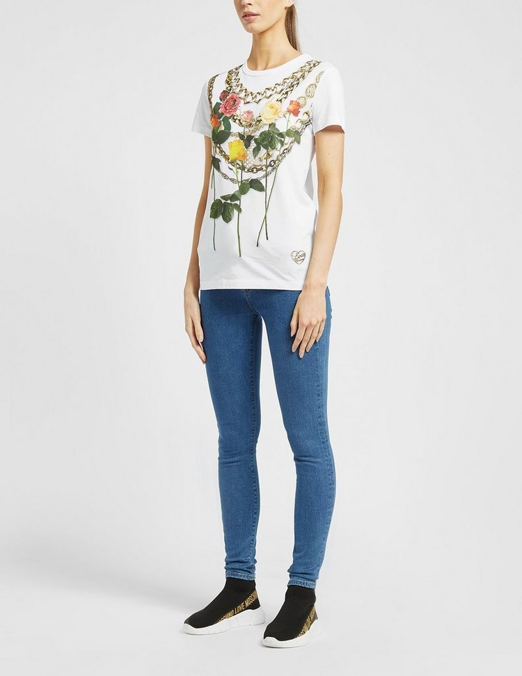Love Moschino Floral Chain T-Shirt