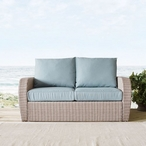 St. Augustine Wicker Loveseat with Mist Cushions