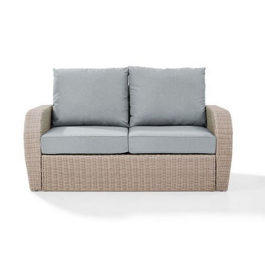 Crosley - St. Augustine Wicker Loveseat with Oatmeal Cushions - 452373