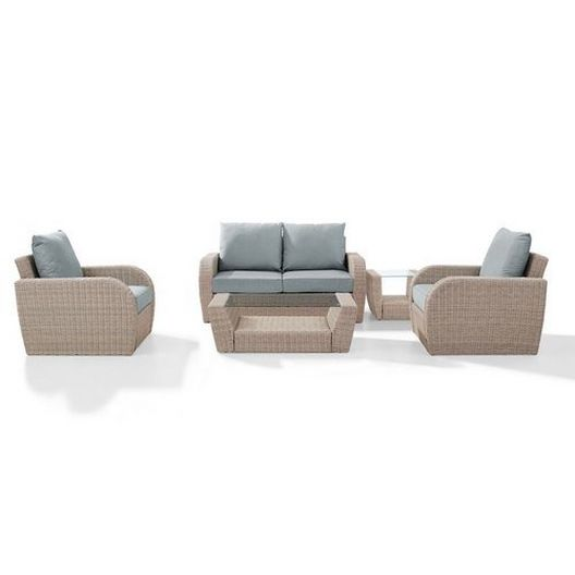 Crosley - St. Augustine 5-Piece Wicker Set and Mist Cushions with Loveseat, Two Armchairs, Side Table and Coffee Table - 452365