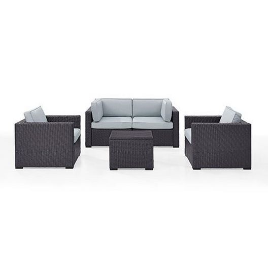 Biscayne Mist 5-Piece Wicker Set with 2 Armchairs, 2 Corner Chairs and Coffee Table