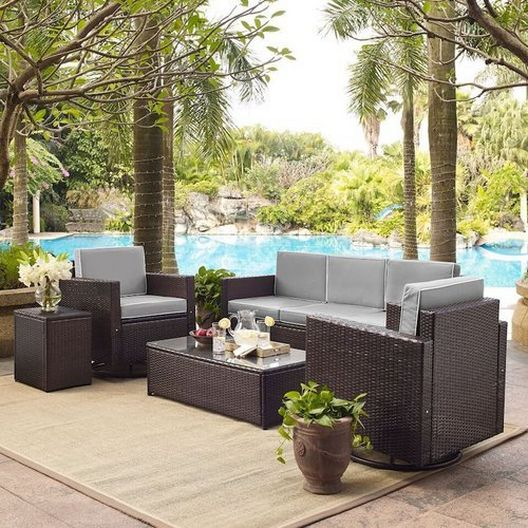 Crosley - Palm Harbor 5-Piece Wicker Set and Sand Cushions with Two Swivel Rockers, Sofa, Side Table and Coffee Table - 452270