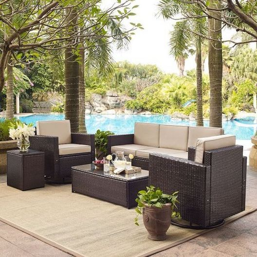 Crosley - Palm Harbor 5-Piece Wicker Set and Gray Cushions with Two Swivel Rockers, Sofa, Side Table and Coffee Table - 452268