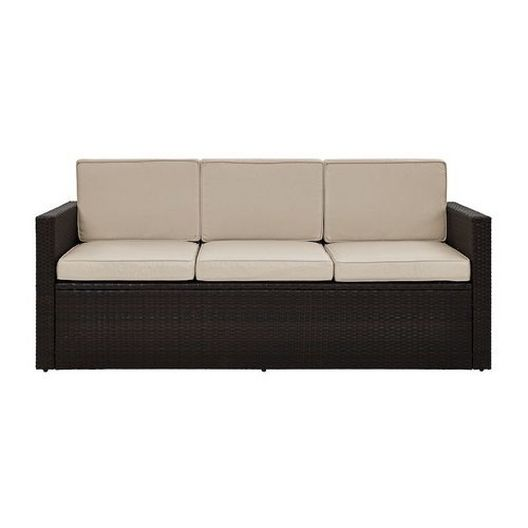 Crosley - Palm Harbor Wicker Sofa with Gray Cushions - 452317