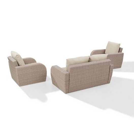 Crosley - St. Augustine 3-Piece Wicker Set and Oatmeal Cushions with Loveseat and Two Armchairs - 452360