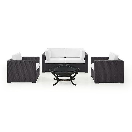 Biscayne Mocha 5-Piece Wicker Set with 2 Armchairs, 2 Corner Chairs and Fire Pit