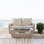 St. Augustine 2-Piece Wicker Set and Mist Cushions with Loveseat and Coffee Table