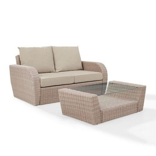 Crosley - St. Augustine 2-Piece Wicker Set and Mist Cushions with Loveseat and Coffee Table - 452352