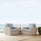 St. Augustine 3-Piece Wicker Set and Mist Cushions with Two Armchairs and Side Table