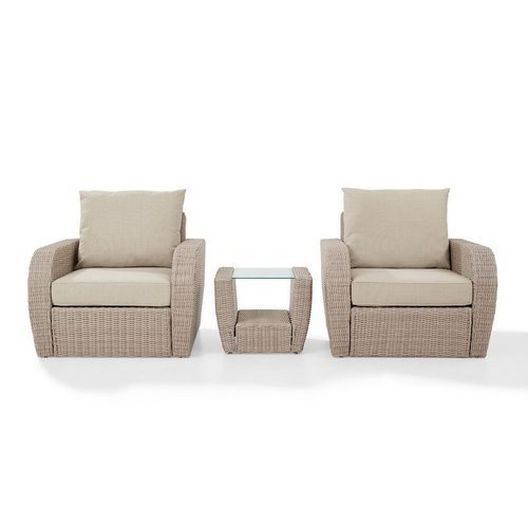 Crosley - St. Augustine 3-Piece Wicker Set and Mist Cushions with Two Armchairs and Side Table - 452357