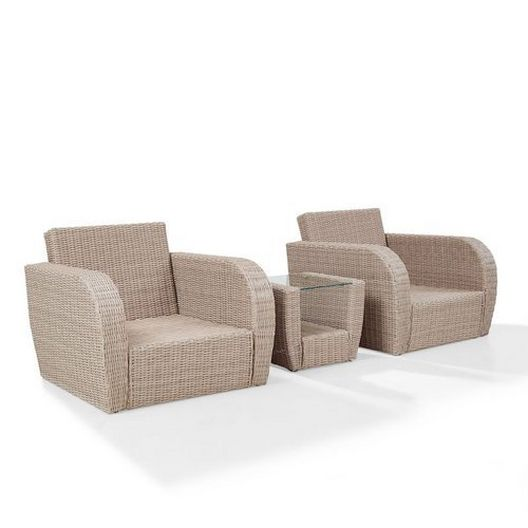 Crosley - St. Augustine 3-Piece Wicker Set and Oatmeal Cushions with Two Armchairs and Side Table - 452361