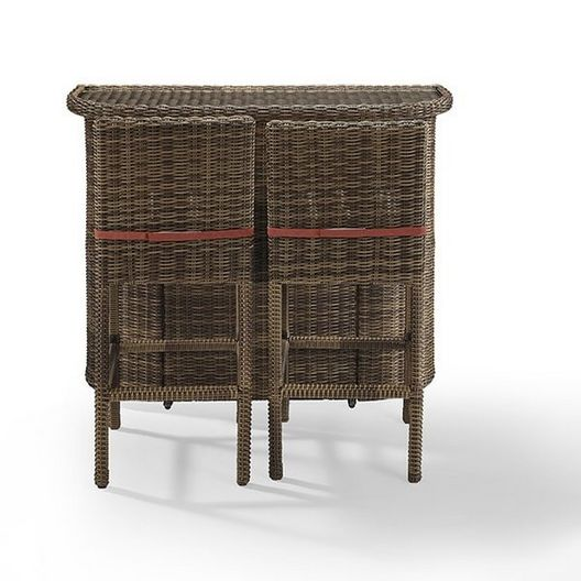 Crosley - Bradenton 3-Piece Wicker Bar Set with Bar and Two Stools and Sand Cushions - 452156