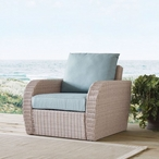 St. Augustine Wicker Arm Chair with Oatmeal Cushions