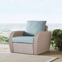 St. Augustine Wicker Arm Chair with Mist Cushions