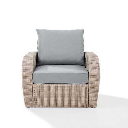 Crosley - St. Augustine Wicker Arm Chair with Mist Cushions - 452369
