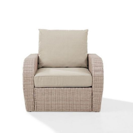 Crosley - St. Augustine Wicker Arm Chair with Oatmeal Cushions - 452370