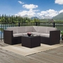 Palm Harbor 6-Piece Wicker Set and Sand Cushions with Three Corner Chairs, Two Center Chairs and Ottoman
