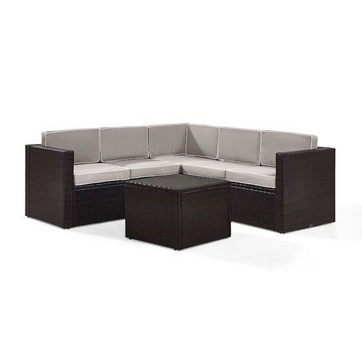 Crosley - Palm Harbor 6-Piece Wicker Set and Sand Cushions with Three Corner Chairs, Two Center Chairs and Ottoman - 452272