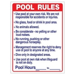 National Stock Sign - Commercial Pool Rules Sign - 24730