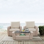 St. Augustine 3-Piece Wicker Set and Mist Cushion with Two Armchairs and Coffee Table