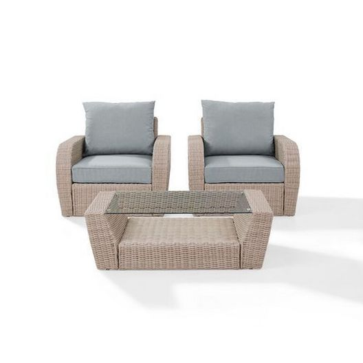Crosley - St. Augustine 3-Piece Wicker Set and Oatmeal Cushion with Two Armchairs and Coffee Table - 452362