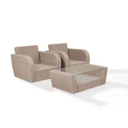 Crosley - St. Augustine 3-Piece Wicker Set and Mist Cushion with Two Armchairs and Coffee Table - 452358
