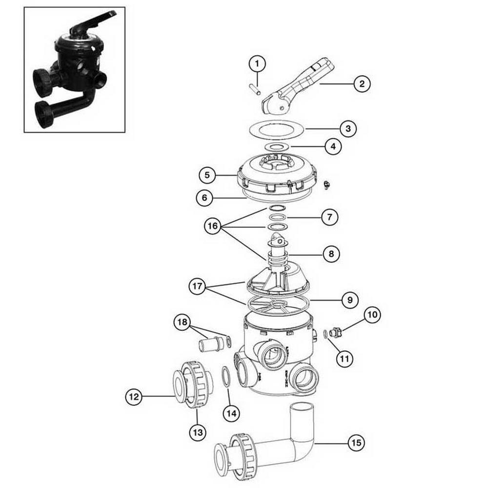 """Astral Multiport Backwash Valve 1-1/2"""" Multi-Port Side Mount #22355 image"""
