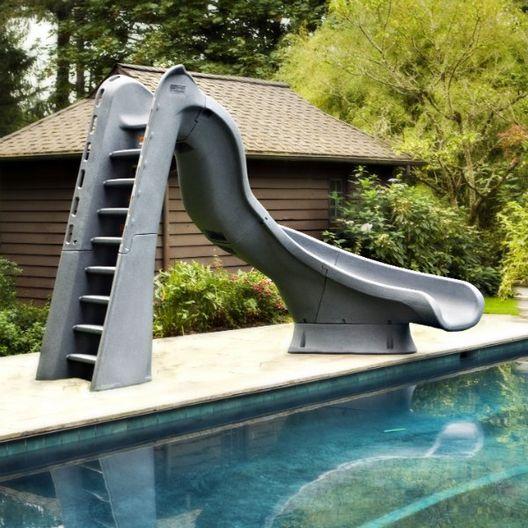 688-209-58224 TurboTwister Left Turn Complete Pool Slide - Gray Granite