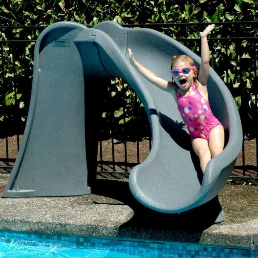 Cyclone Pool Slide with Right Curve, Gray Granite