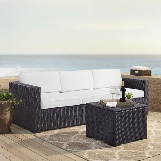 Crosley  Biscayne 3 Person Wicker Set with White Cushions  Loveseat Corner Chair and Coffee Table