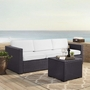 Biscayne 3 Person Wicker Set with White Cushions - Loveseat, Corner Chair and Coffee Table