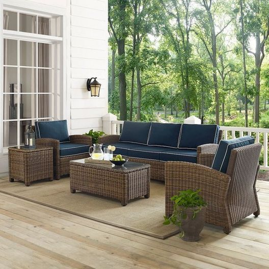 Crosley  Bradenton 5-Piece Navy Cushion Wicker Set with One Loveseat Two Arm Chairs Side Table and Coffee Table