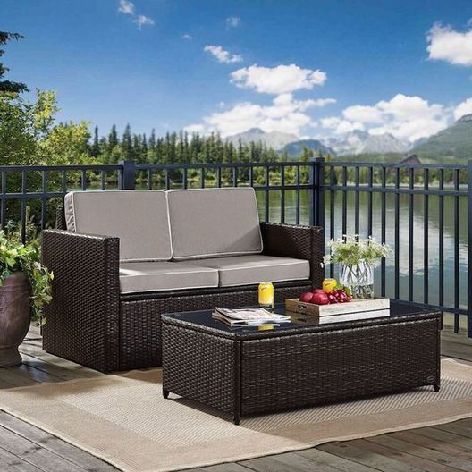 Crosley - Crosley KO70002BR Palm Harbor 2-Piece Wicker Set and Gray Cushions with Loveseat and Glass-Top Table - 452234