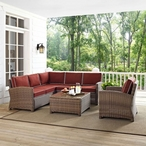 Bradenton 5-Piece Sectional with Two Loveseats, One Corner Chair, One Armchair, and One Glass Top Coffee Table