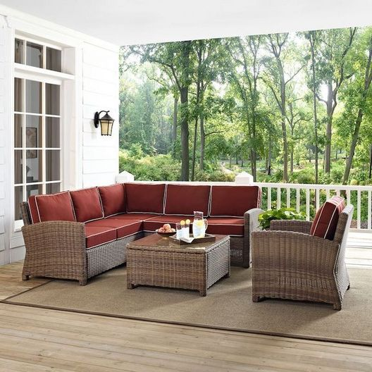 Crosley  Crosley KO70021WB Bradenton 5-Piece Sectional with Two Loveseats One Corner Chair One Armchair and One Glass Top Coffee Table and Navy Cushions