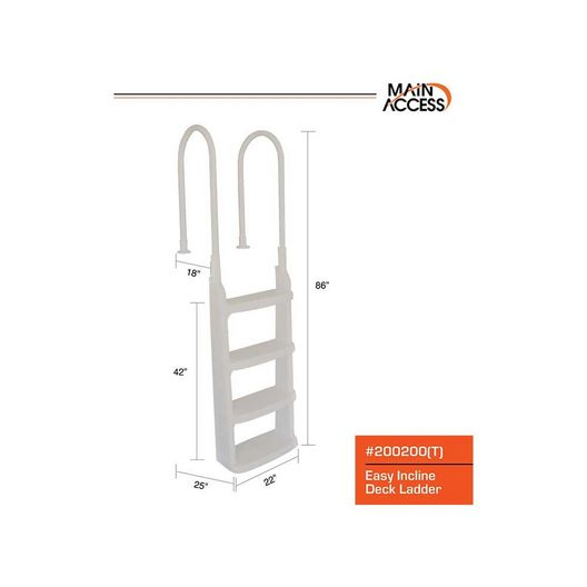 Main Access  200200T Easy Incline Deck Entry Ladder  Taupe