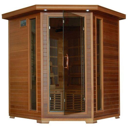 Heatwave  4-Person Cedar Corner Sauna with Carbon Heaters