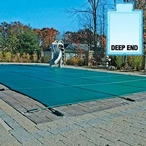 16' x 32' Rectangle Mesh Safety Cover with Center End Step, Green, 8- Year Warranty