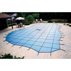 Ultralight Solid Safety Cover 20' x 40' Rectangle with Center End Step, Blue - 20 yr Warranty